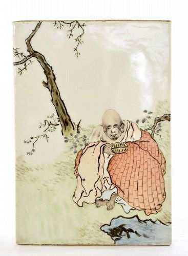 Old Chinese Famille Rose Dharma Monk Porcelain Plaque