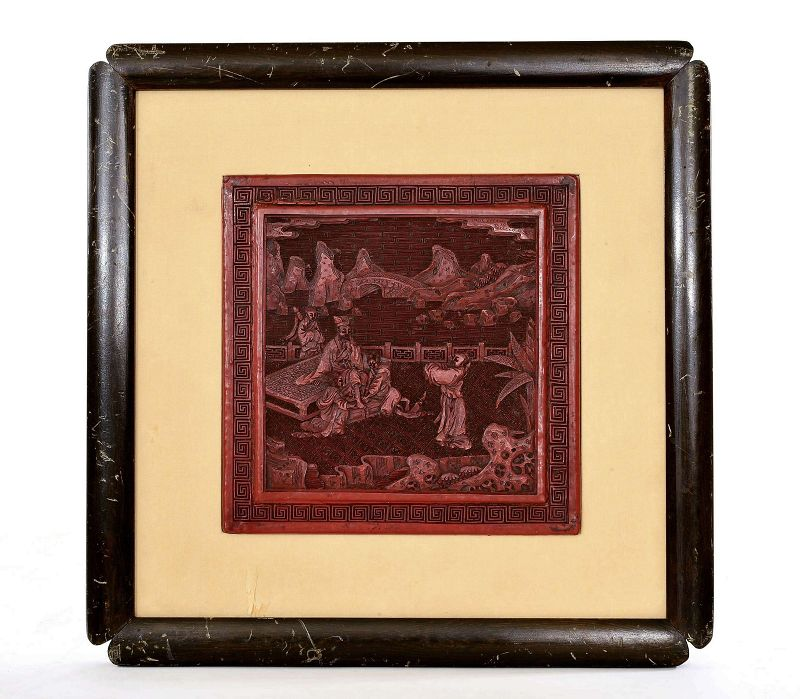 19C Chinese Framed Cinnabar Lacquer Carved Figure Garden Scene Plaque