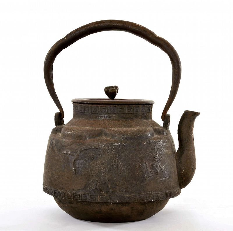 Ryubundo (Kinryu-do) Japanese Cast Iron Tetsubin Kettle