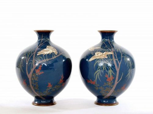 2 Old Japanese Cloisonne Enamel Vase Crane Bird