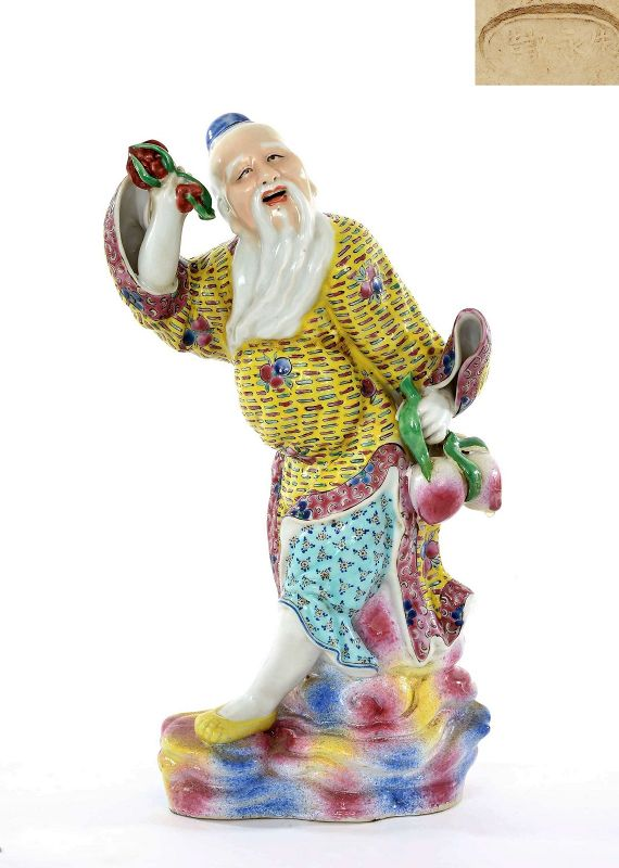 Old Chinese Famille Rose Porcelain Shoulo God Longevity Buddha �永�