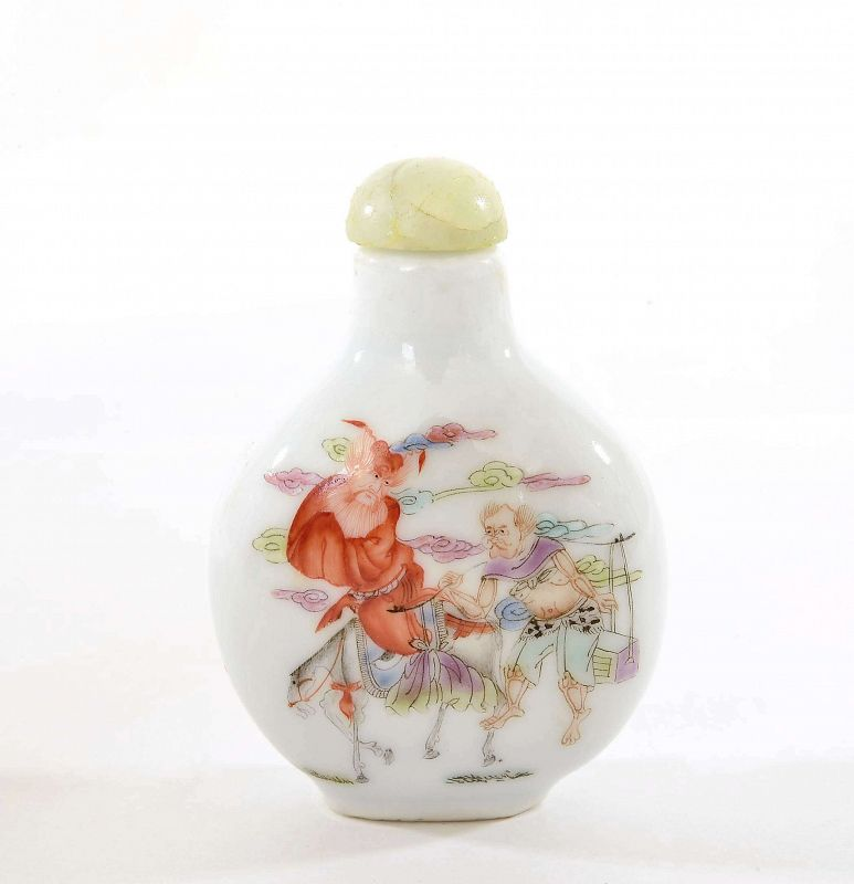 Old Chinese Famille Rose Porcelain Snuff Bottle Zhong Kui ��