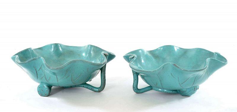2 Chinese Enamel Yixing Zisha Lotus Leaf Pad Root Shaped Tea Cup Bowl