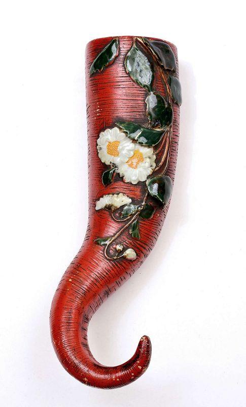 Japanese Sumida Gawa Porcelain Vase Elephant Trunk Flower Ryosai