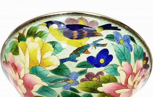 Japanese Plique a Jour Cloisonne Bowl with Bird & Rose