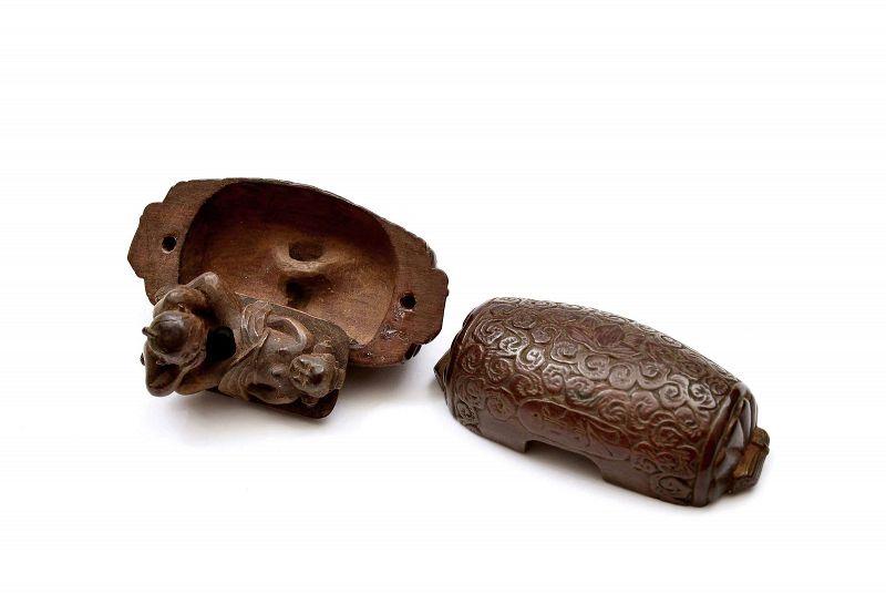 Old Japanese Wood Carved Carving Erotica Couple Figurine Netsuke SG