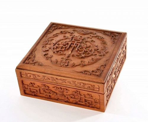 19C Chinese Sandalwood Wood Carved Carving Box Flower