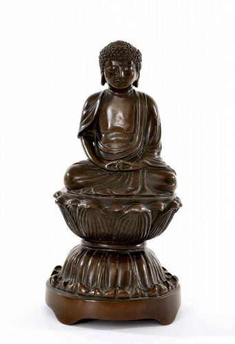 Meiji Japanese Bronze Seated Amita Buddha Lotus Seat