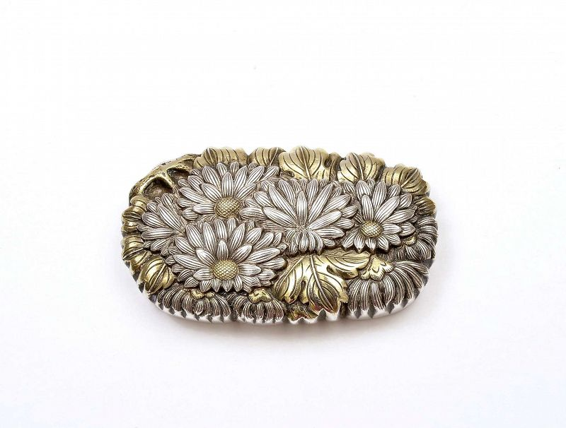 Old Japanese Gilt Sterling Silver Chrysanthemum Netsuke Monju