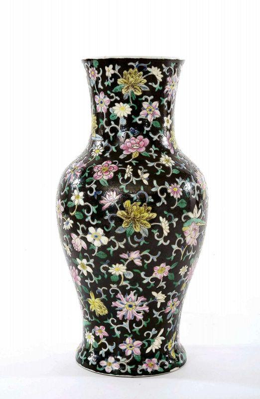 17C Chinese Kangxi Famille Noire Turquoise Glaze Porcelain Vase Flower