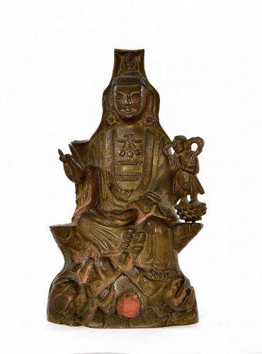 18/19C Chinese Bronze Quan Kwan Yin Buddha & Boy Figure Figurine
