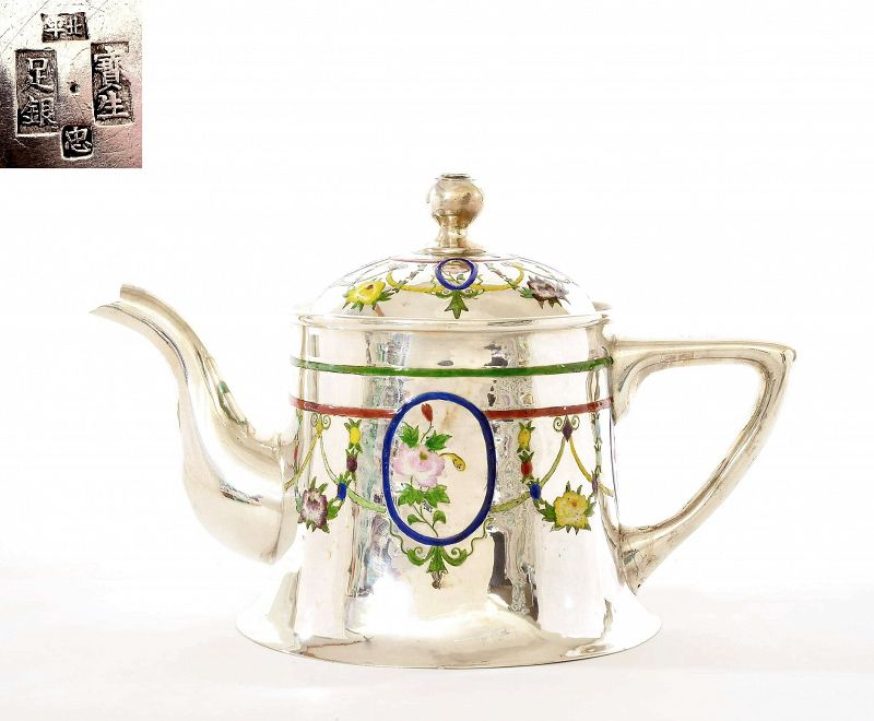 1930's Chinese Sterling Silver Enamel Teapot Flower �平��