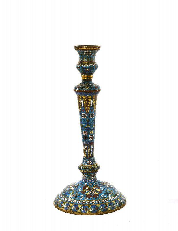 Late 18C Chinese Cloisonne Enamel Candle Holder