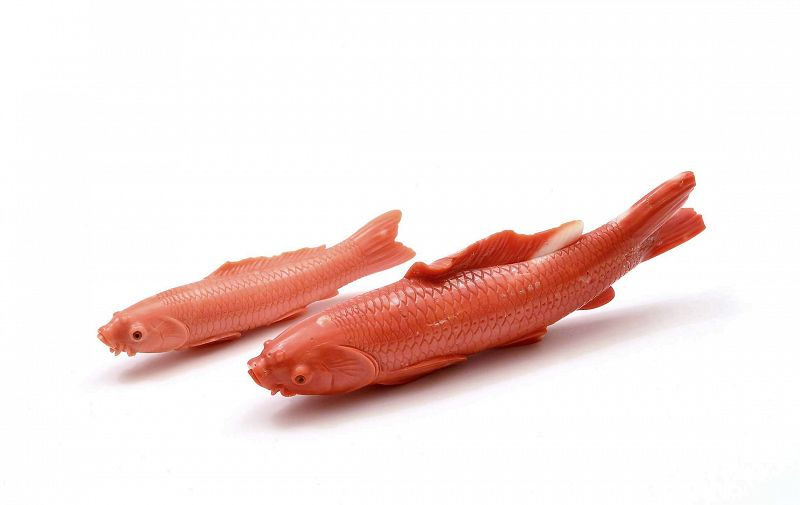 2 Old Japanese Red Coral Carved Carving Koi Fish