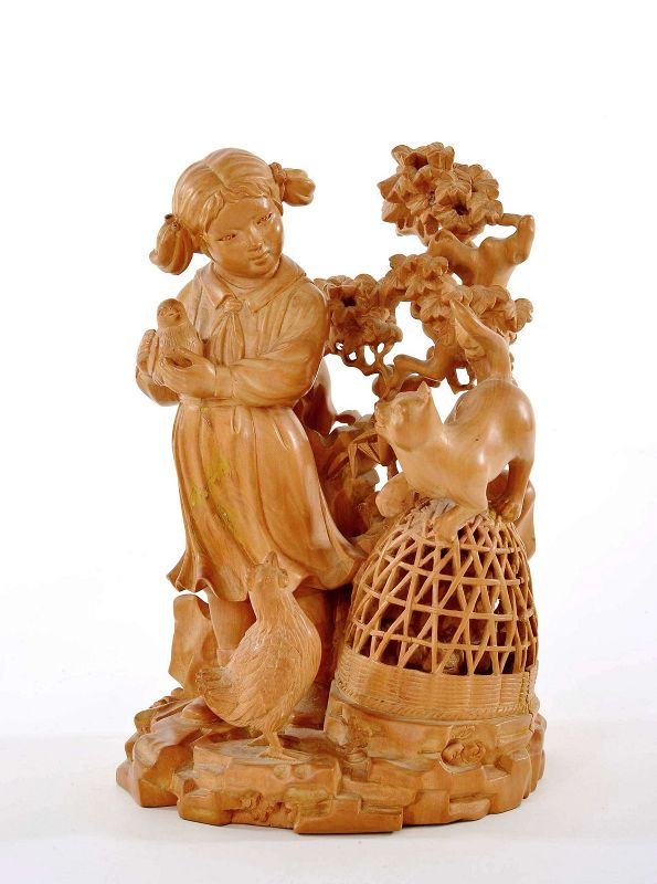 Chinese Culture Revolution Boxwood Wood Carved Girl Chicken Group Cat