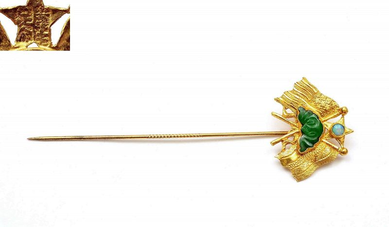 Chinese 24K Gold Jade Jadeite Opal Carved Carving Flag Pin Hairpin