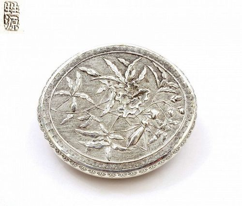 "Old Chinese Sterling Silver Box Cricket & Flower Marked""��"""