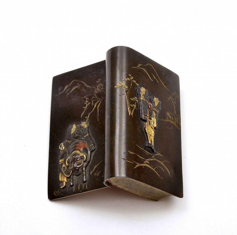 Japanese Mixed Metal Book Shaped Match Safe Ox  Woodcutter