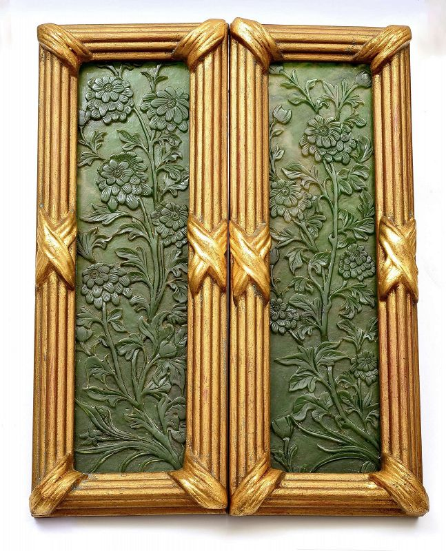 19C Chinese 2 Spinach Jade Carved Carving Panel Flower with Wood Frame