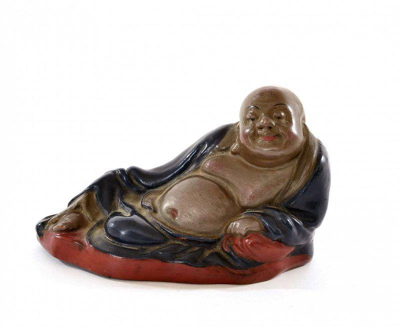 Old Chinese FuZhou Fujian Lacquer Happy Buddha Scholar PaperWeight