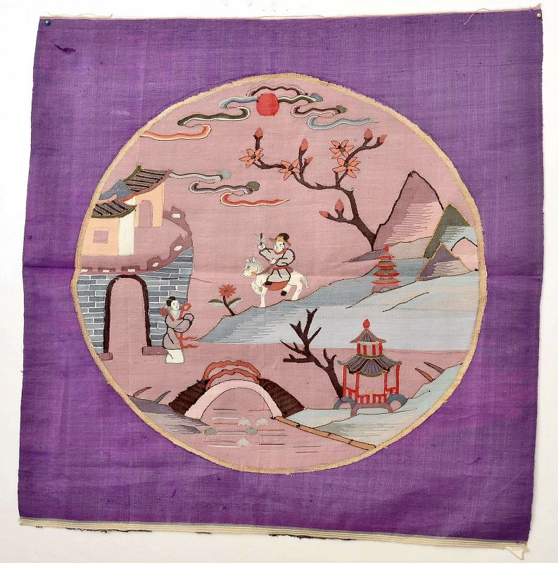 19C Chinese Kesi Kossu Silk Embroidery Figure Textile Panel Tapestry