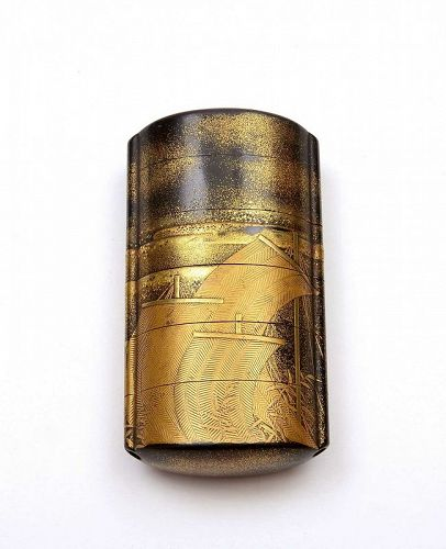 19C Japanese Makie Lacquer 5 Case Inro with Boat
