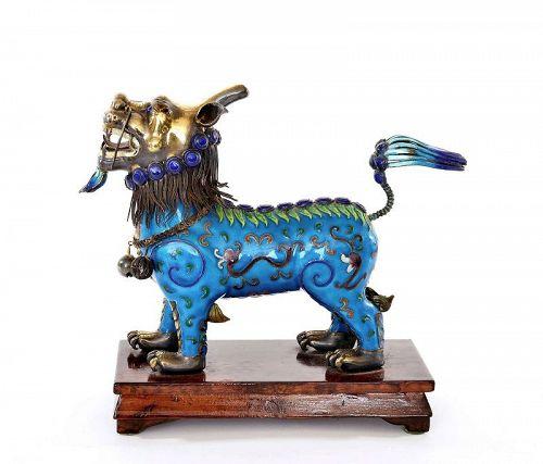 "Vintage Chinese Silver Enamel  Qilin Kirin Beast ""��"""