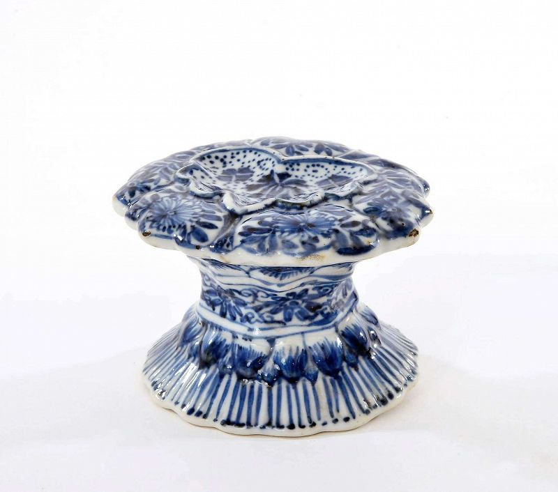 17C Chinese Kangxi Blue & White Porcelain Salt & Pepper Cellar
