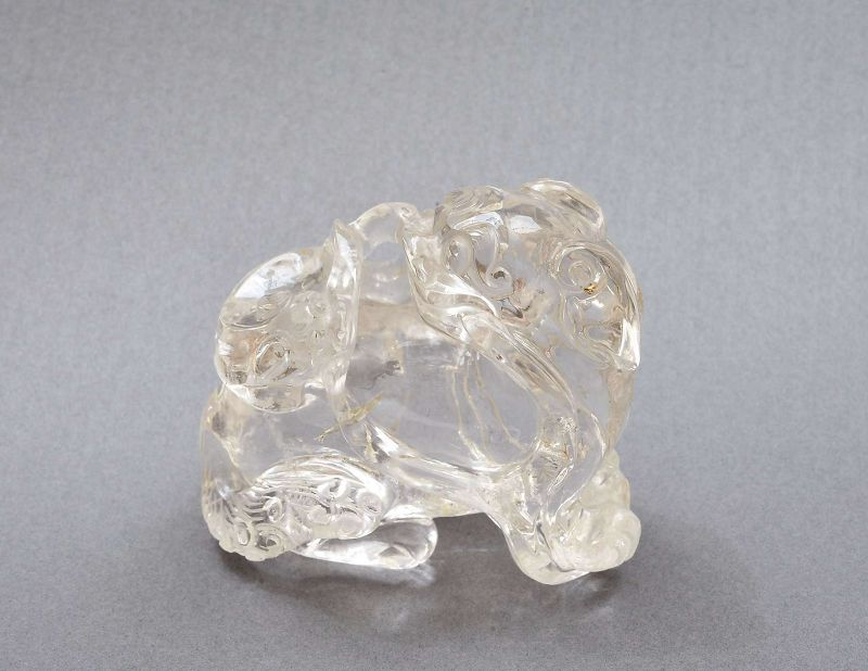 19C Chinese Rock Crystal Carved  Fu Foo Dog Lion Scholar Paper Weight