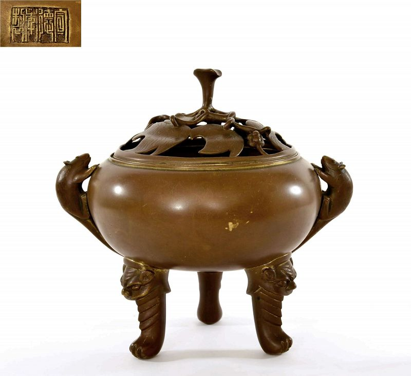 1900's Chinese Bronze Incense Burner Censer Armadillo Ears Lion Feet