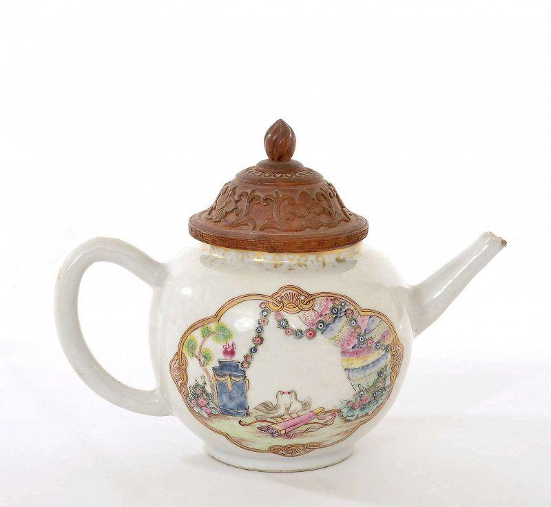 18C Chinese Qianlong Famille Rose Porcelain Teapot Bird Bamboo Lid