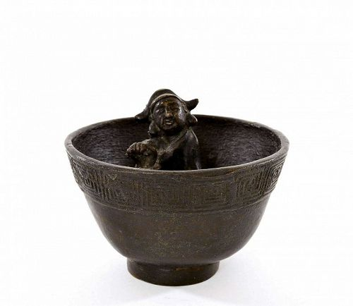19C Chinese Bronze Puzzle Wine Cup Figurine Figure