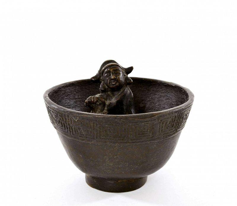 19C Chinese Bronze Puzzle Wine Cup Figurine Figure