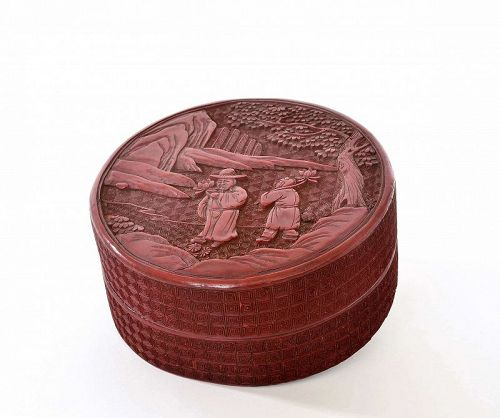 19C Chinese Deep Carved Cinnabar Lacquer Round Box Figurine