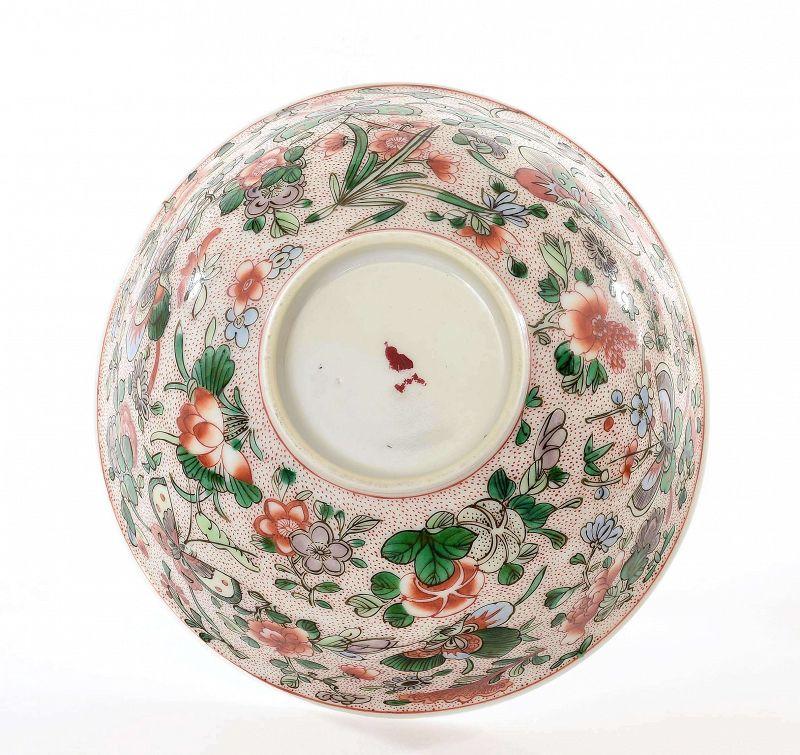 Old Chinese Famille Rose Verte Porcelain Bowl Flower Butterfly Mk