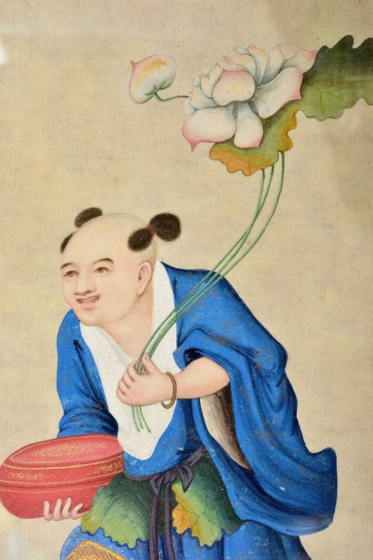 19C Chinese Watercolor Painting Boy Holding Lotus