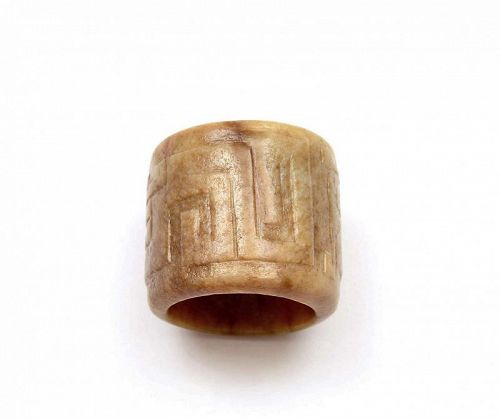 19C Chinese Jade Nephrite Carved Carving Archer Ring
