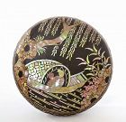Old Chinese Lac Burgaute Round Box Boat River Scene Lady Figure Mk