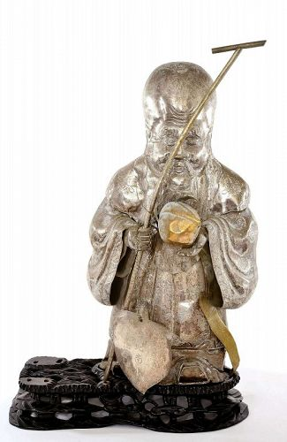 19C Chinese Sliver Plated Shoulo Buddha Figure Wood Stand