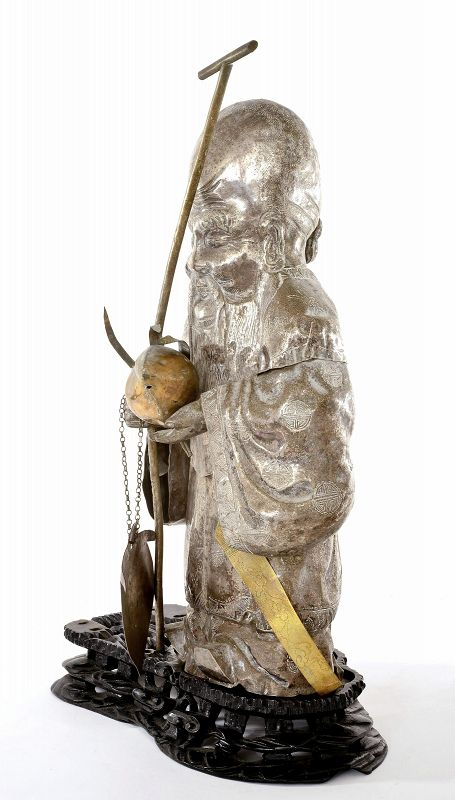 Chinese Sliver Plated (Not Silver) Shoulo God Longevity Buddha Figure