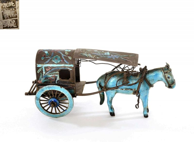 1900's Chinese Silver Enamel Miniature Horse Carriage Beijing �平��