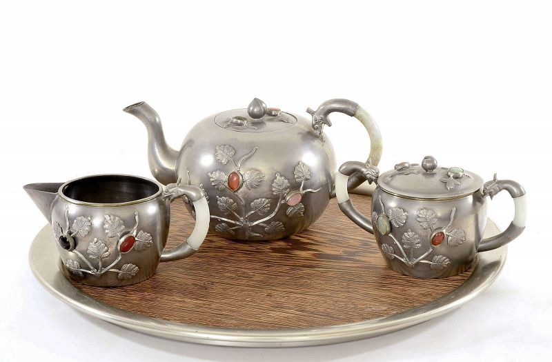 Chinese Pewter Jade Agate Lapis Serpentine Hardstone Carved Tea Set Mk
