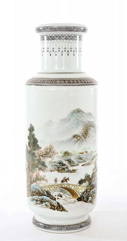 Old Chinese Famille Rose Porcelain Vase Mountain River Scene Poem Mk