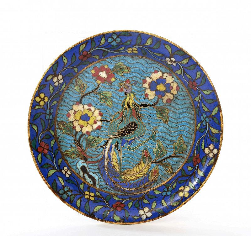 18C Chinese Cloisonne Enamel Phoenix Bird Scholar Brush Washer Dish