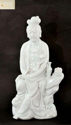 Chinese White Glaze Porcelain Kwan Yin Guan Quan Yin Buddha Mk