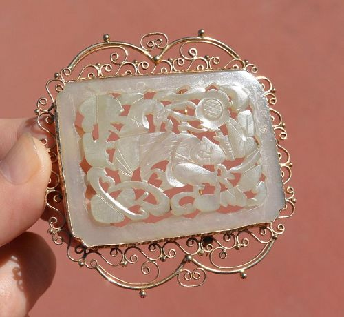 Chinese White Jade Carved Boy Figure Plaque 14K Gold Brooch Pin