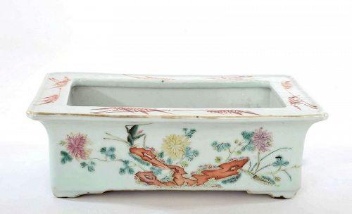 1930's Chinese Famille Rose Porcelain Planter Pot Grasshopper Flower