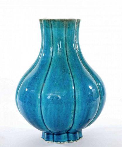 19C Chinese Turquoise Glazed Vase