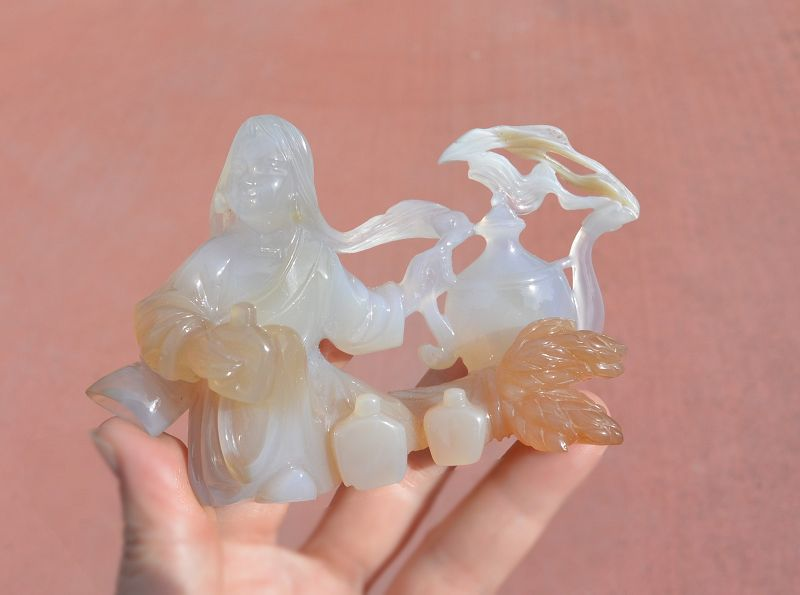 Chinese Culture Revolution Agate Carved Carving Girl Figurine Figure