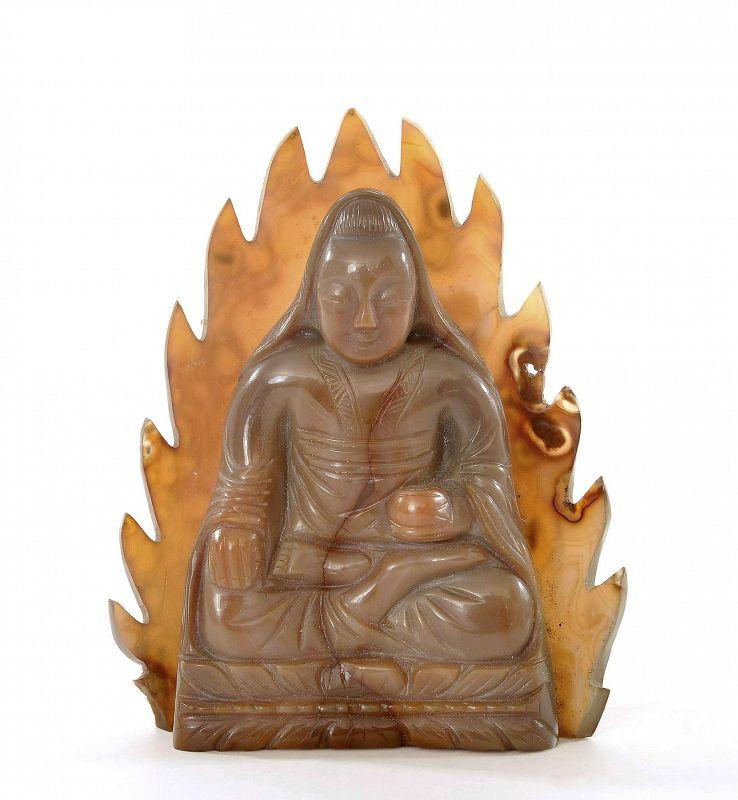1900's Chinese Agate Carved Kwanyin Guanyin Buddha Figure